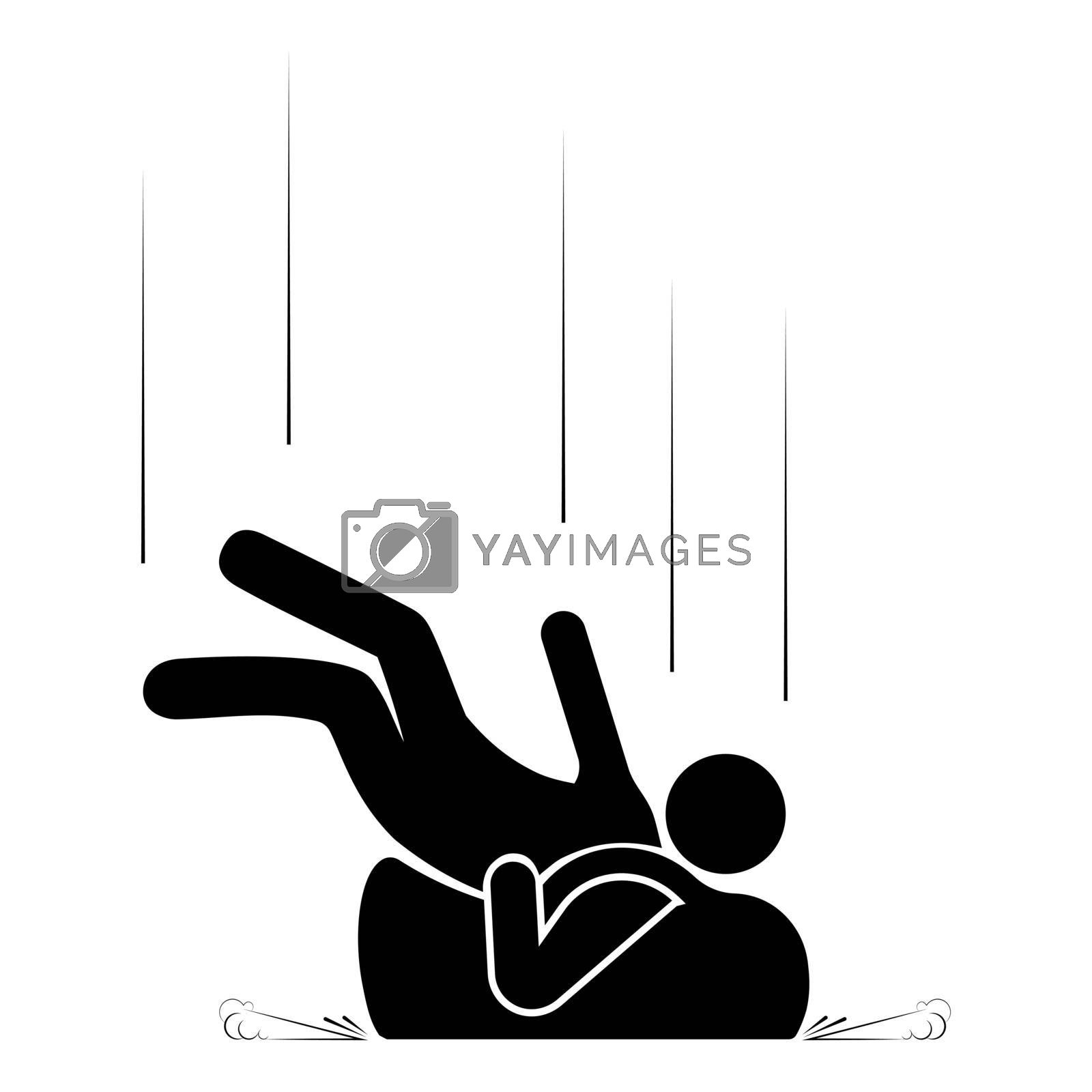 man with a big bag, a backpack fell on his back. Danger of falling during a trip to the mountains, mountaineering, travel. Isolated vector on white background
