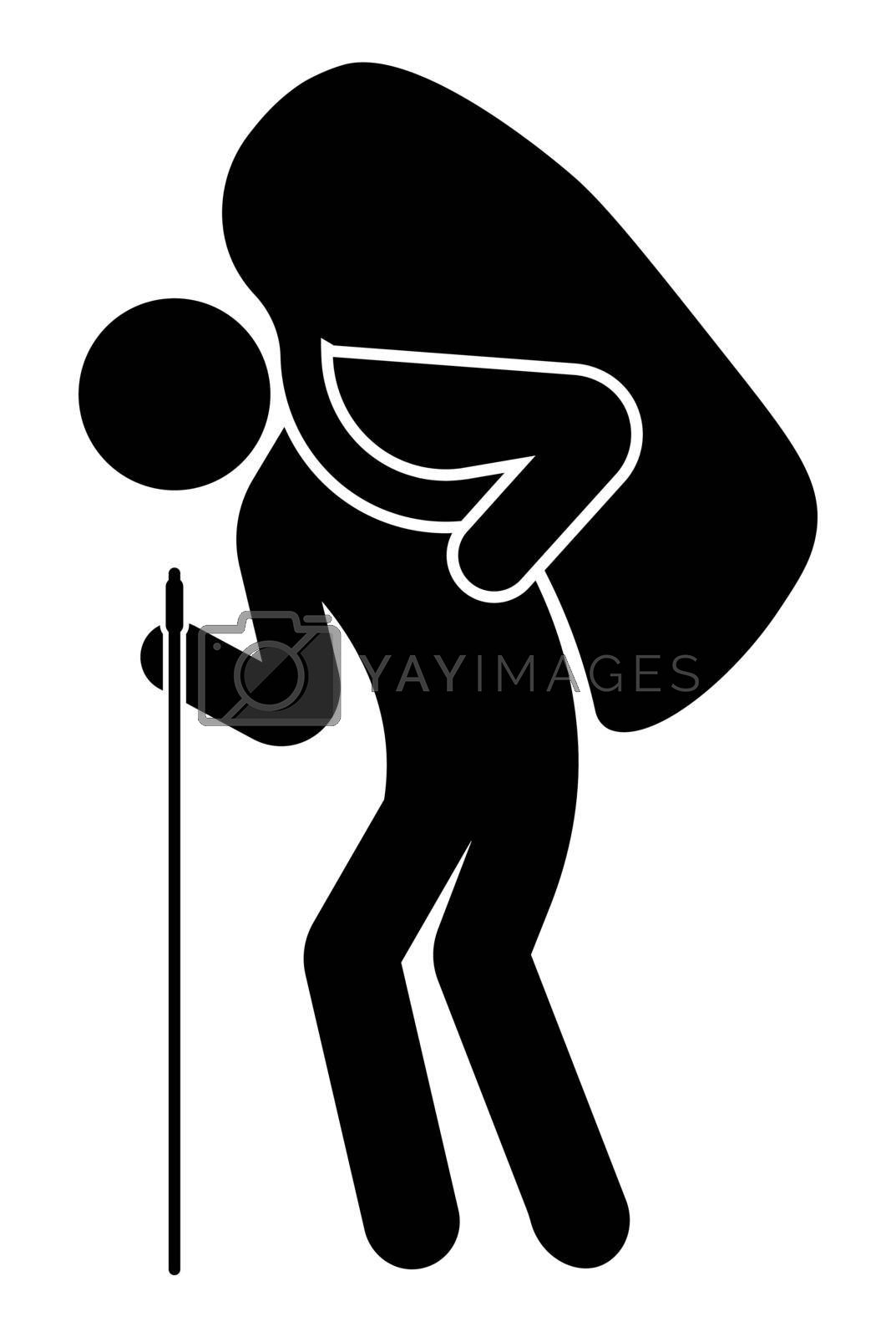 man carries a big bag, a backpack on his shoulder. Leans on a cane. Hiking, mountain climbing, travel. Isolated vector on white background