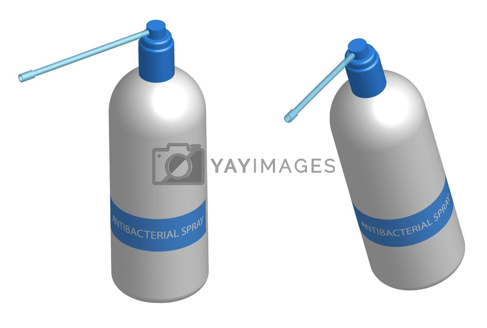 bottle, bottle of antibacterial spray with a spray in a realistic style. Disease Prevention Isolated vector on white background