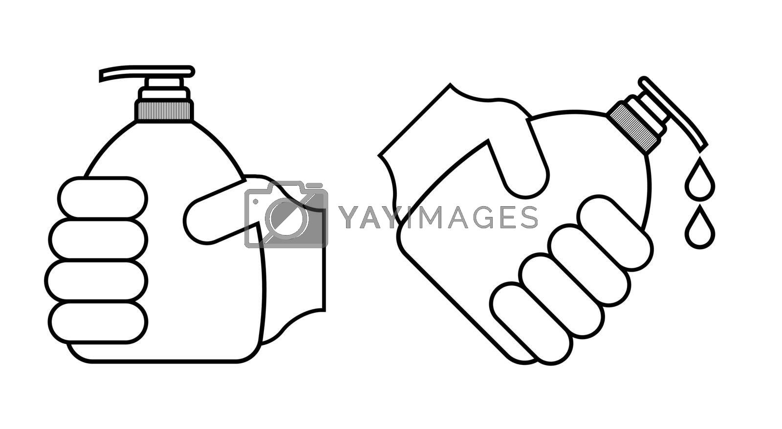 Black and white icon. A hand holds a bottle, a tube of liquid soap. Disinfection and prevention, prevention of infection by bacteria and viruses. Vector on a white background