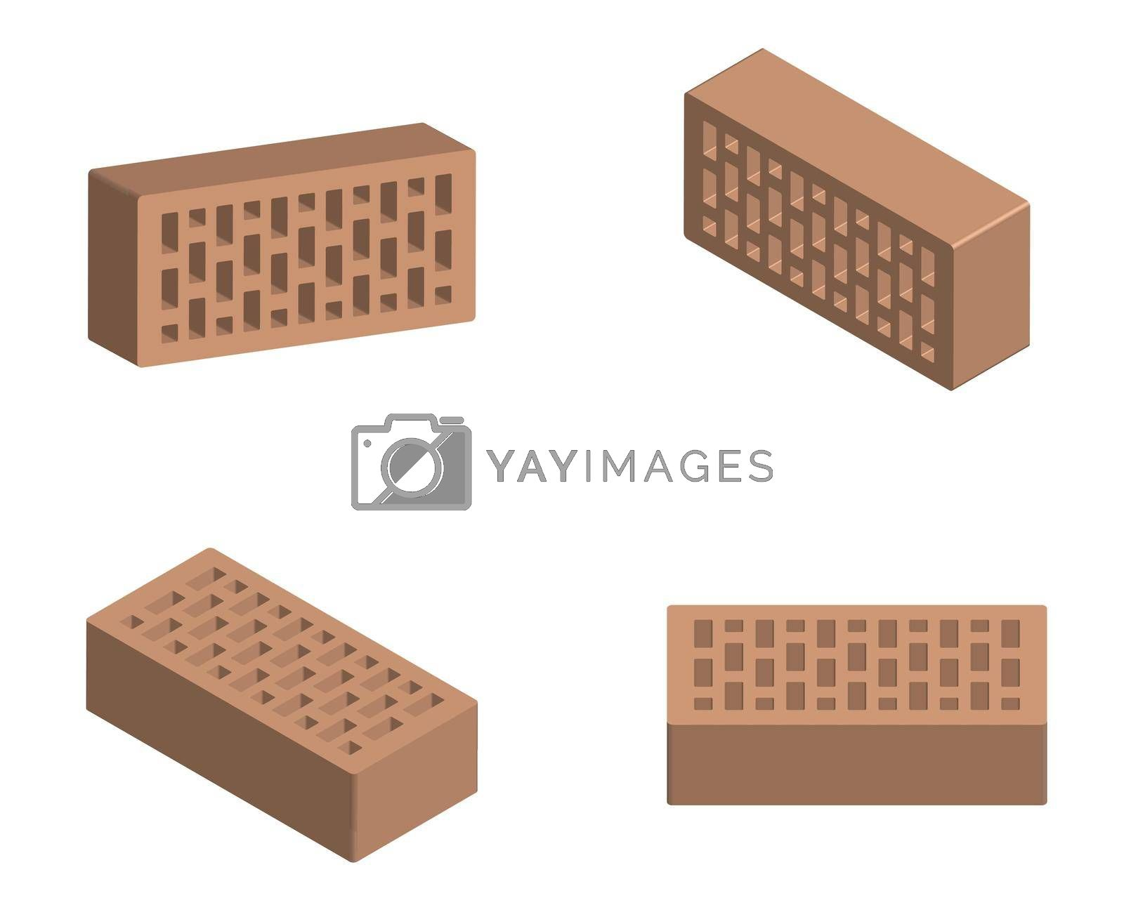 building bricks in a realistic design. Isolated vector on white background