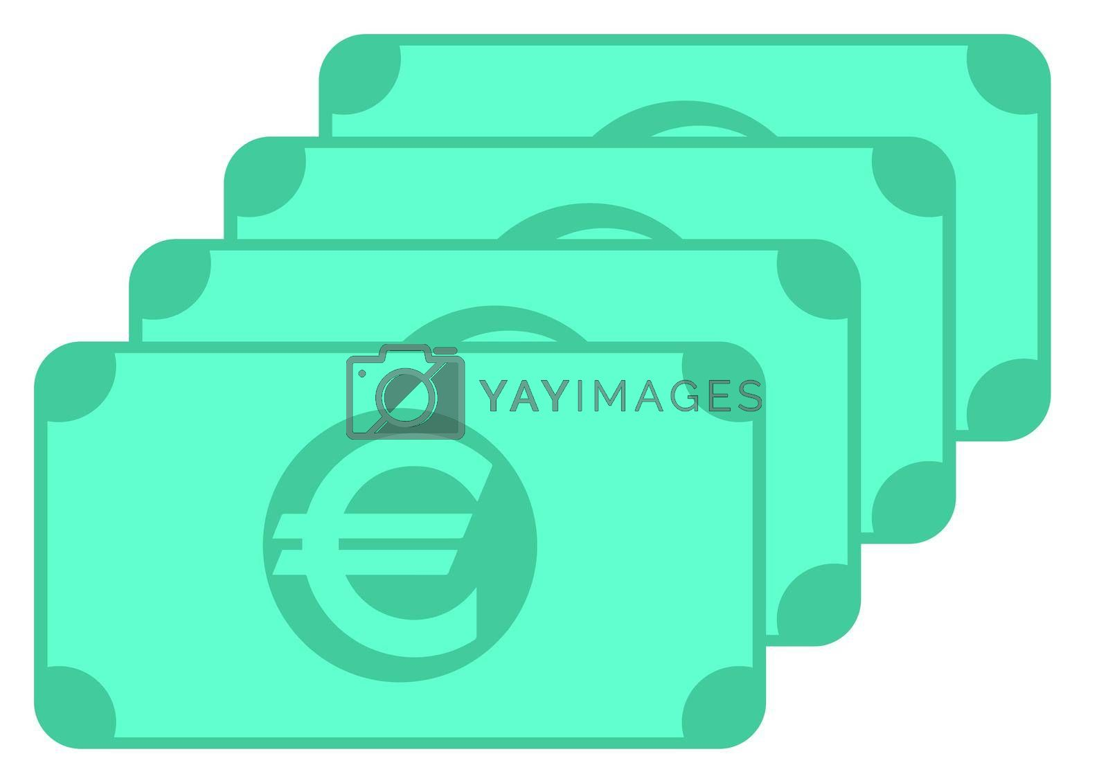Euro banknote icon, symbol design, colored collection for web and mobile