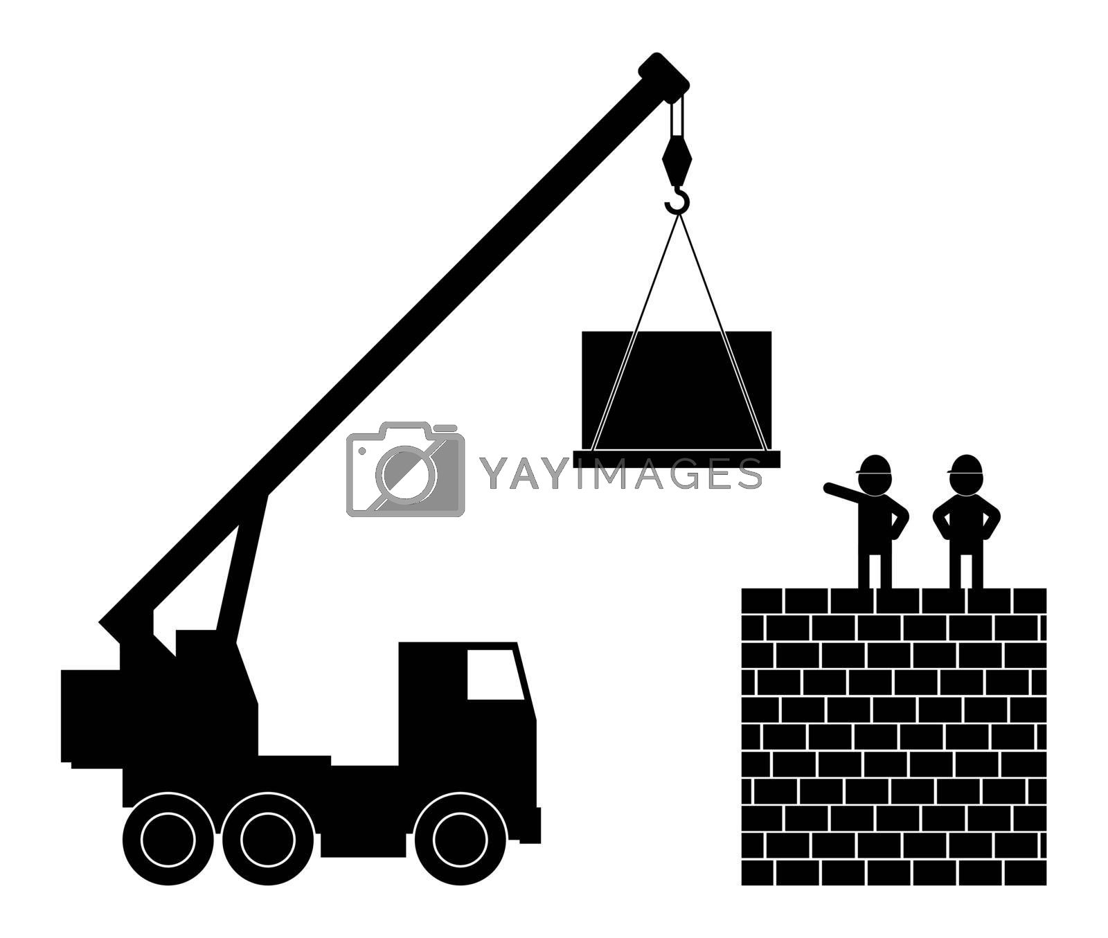 Black and white illustration, builders supervise the work of a crane. Isolated vector