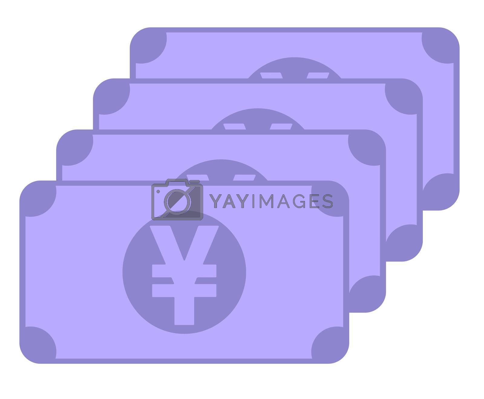 Japanese yen banknote icon, symbol design, colored collection for web and mobile
