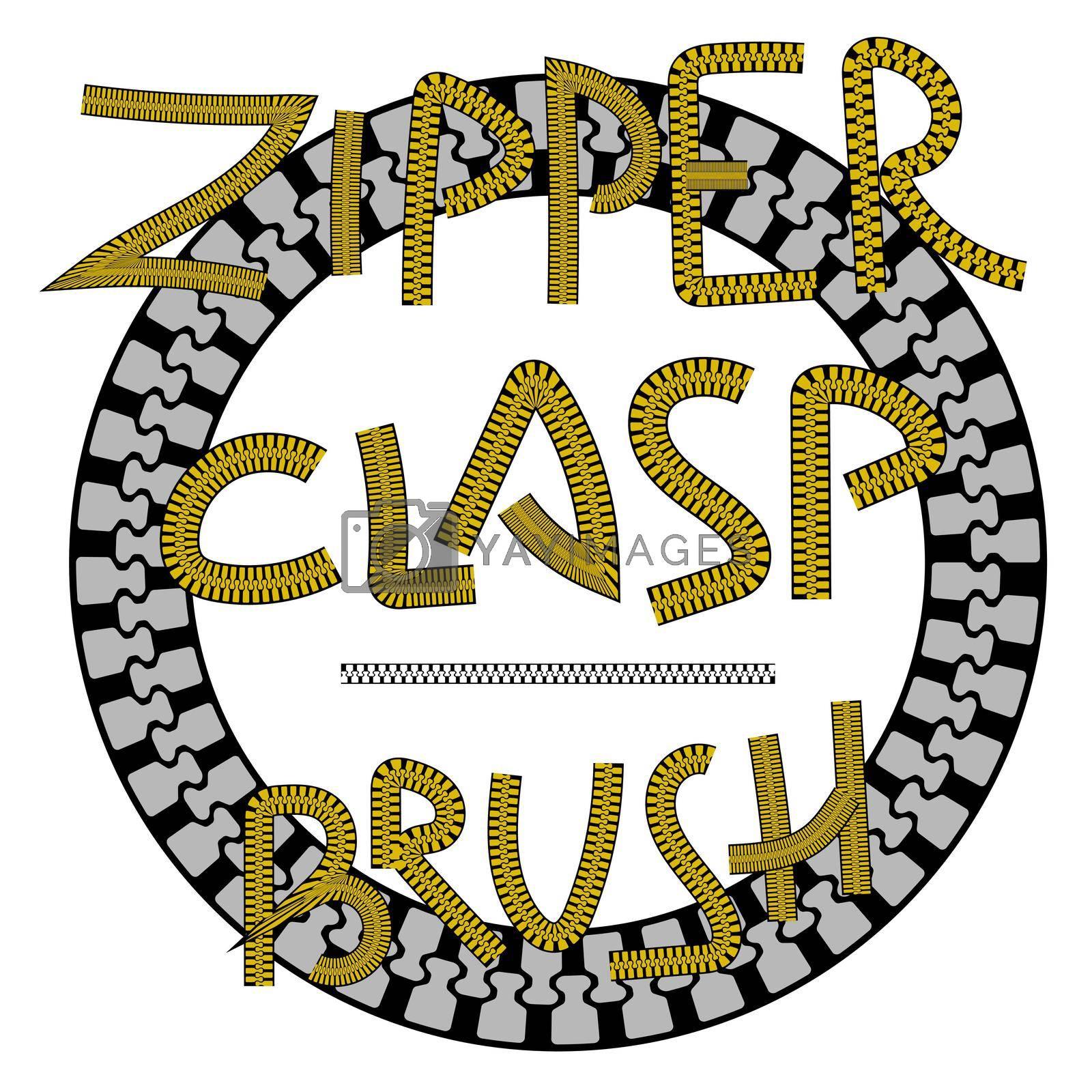 decorative brush zipper fastener. Vector design element