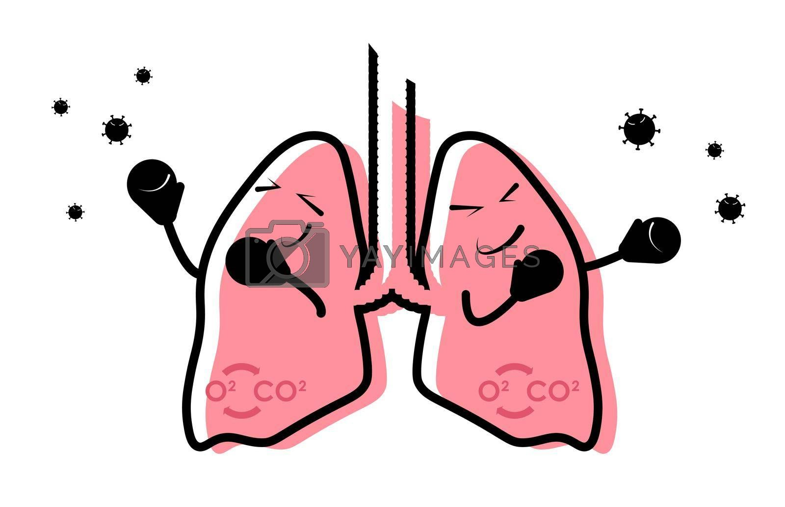 funny icon, healthy human lungs are protected in boxing gloves from the attack of infection. Health care, disease prevention. Isolated vector on white background