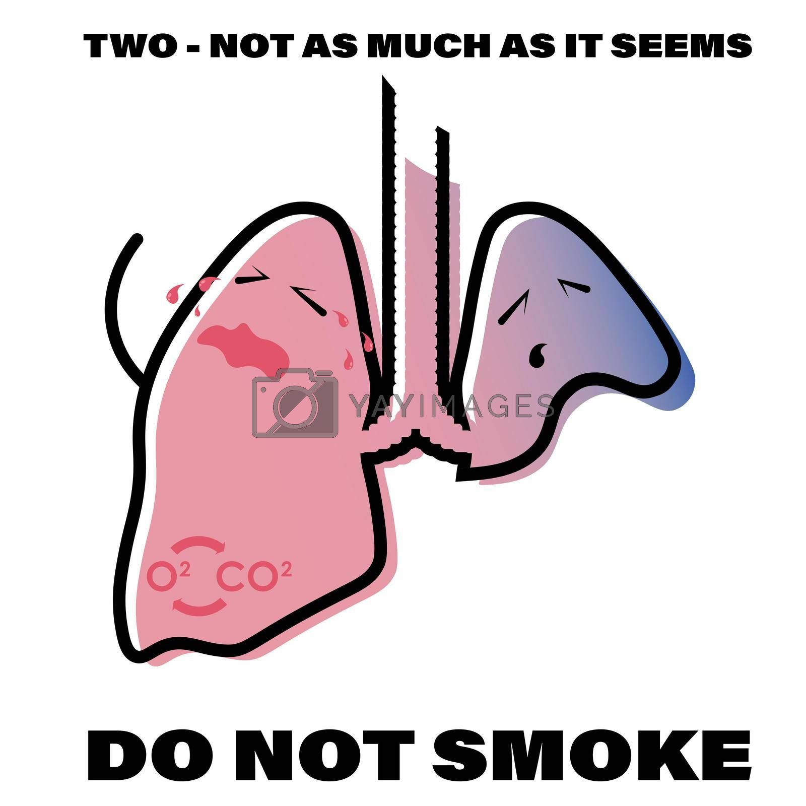 illustration about the dangers of smoking. Partial amputation of the lung. Prevention of respiratory diseases. Isolated vector