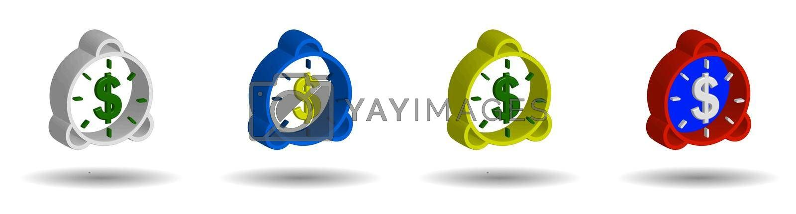 set of multi-colored alarm clocks in 3D style with us dollar sign on a transparent background