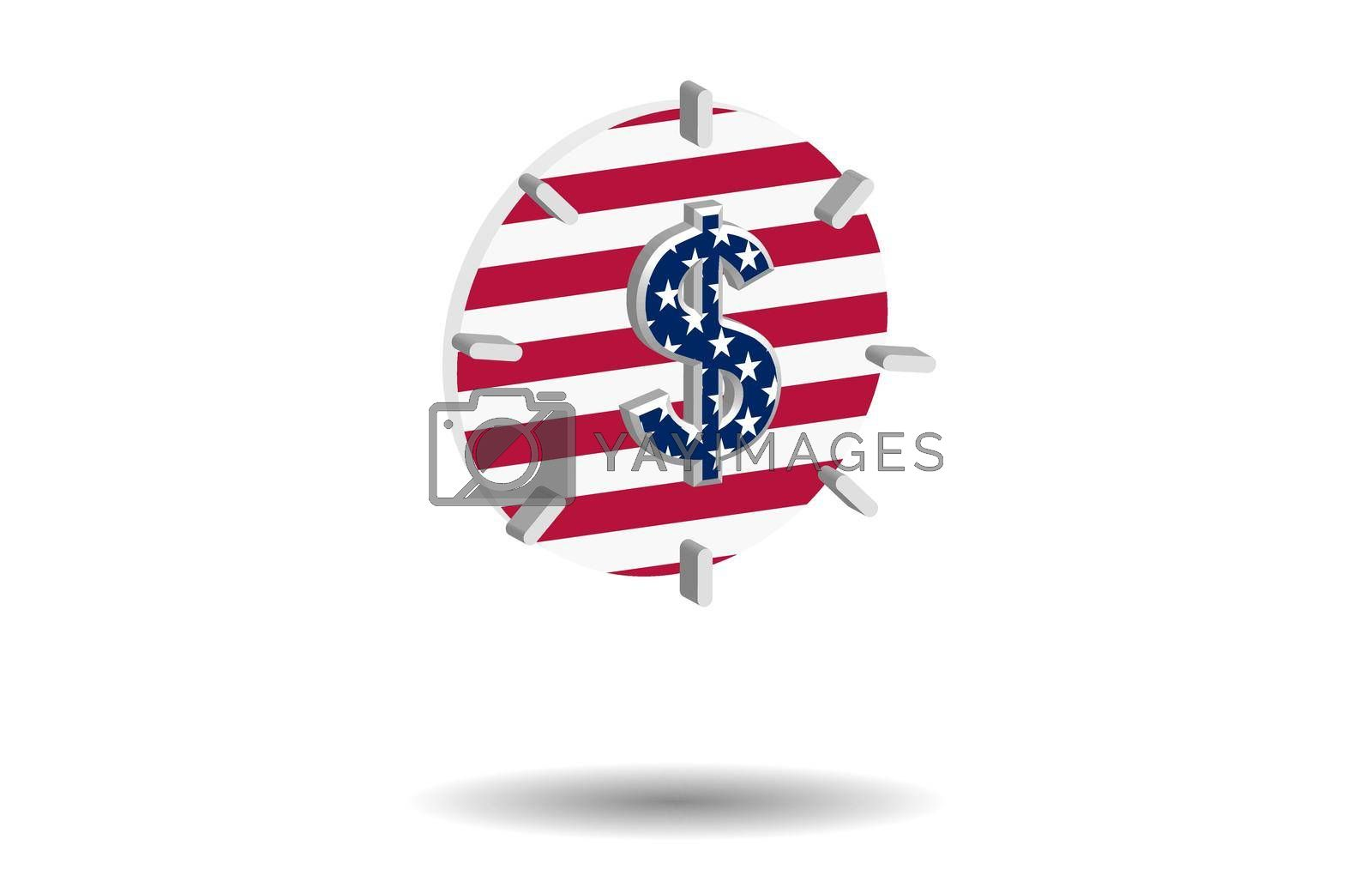 multi-colored alarm clocks with us dollar sign and american flag elements on a transparent background