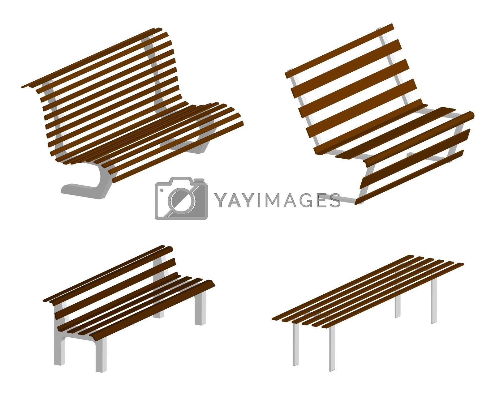 isometric 3d vector, set of park and garden benches on a transparent background