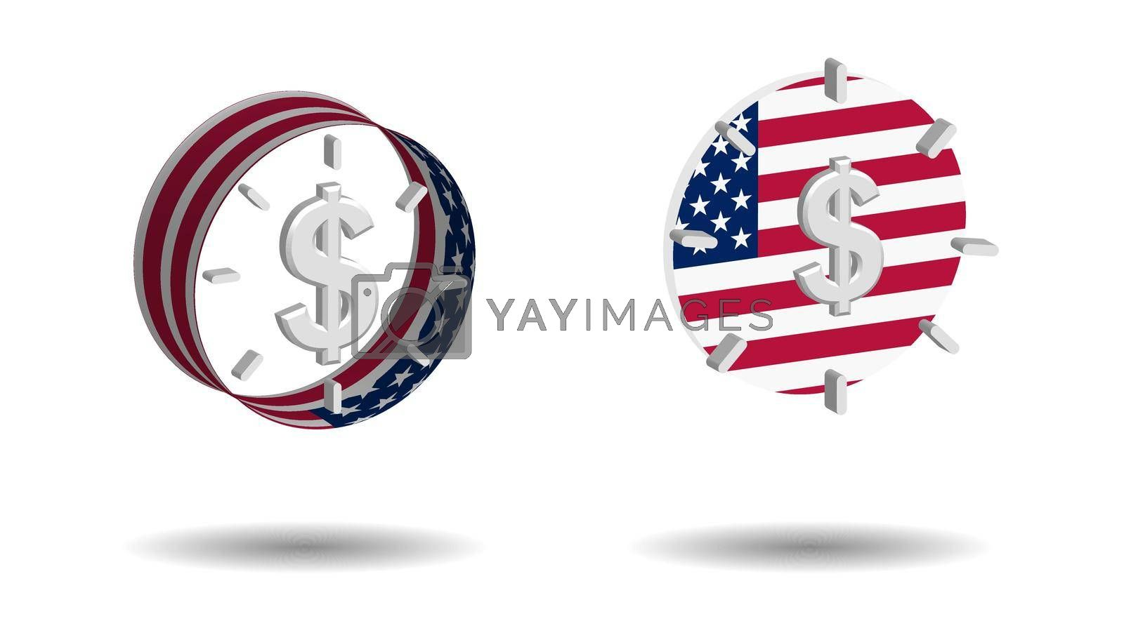 set of multi-colored alarm clocks with us dollar sign and american flag elements on a transparent background