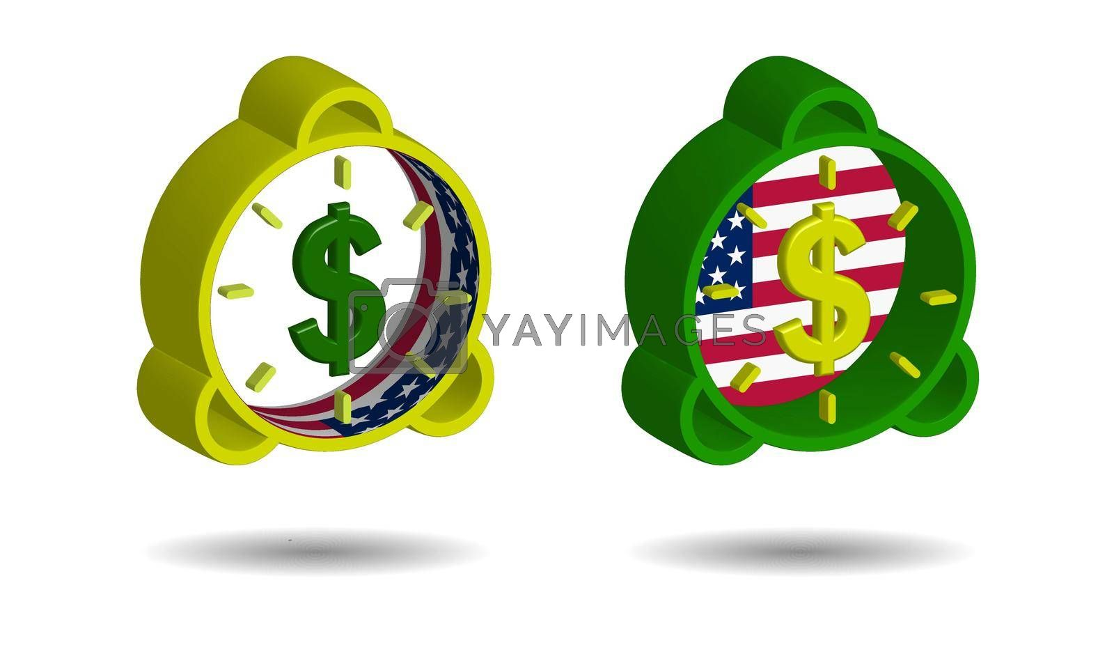 set of multi-colored alarm clocks in 3D style with us dollar sign and american flag elements on a transparent background