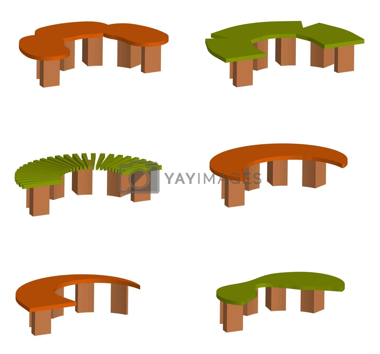 isometric 3d vector, set of original multi-colored park and garden benches on a transparent background by RNko