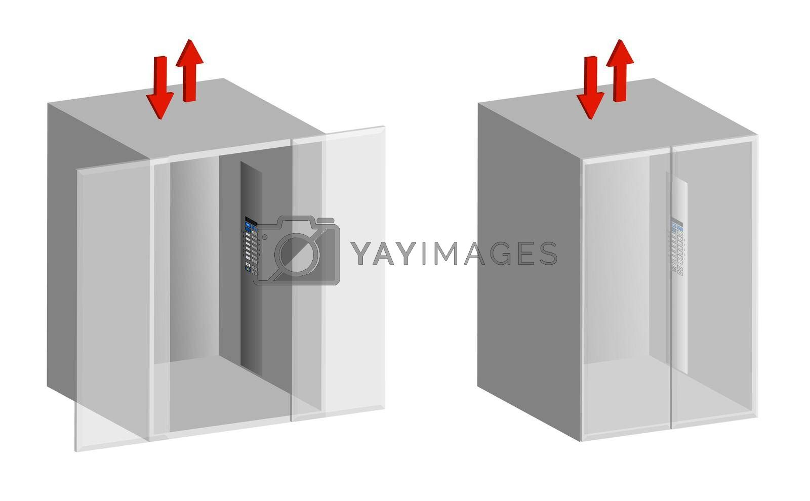 Elevators with open and closed doors on a transparent isolated background, 3D icon