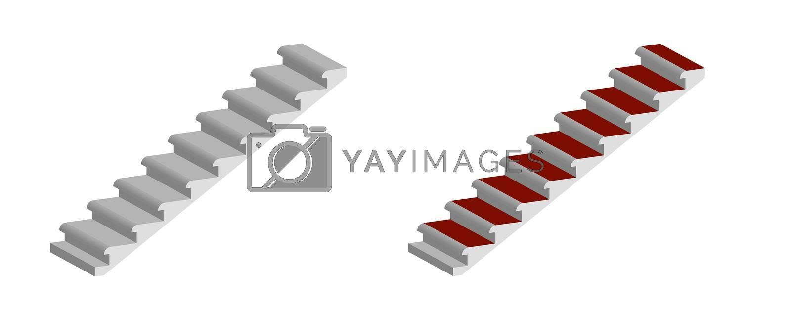high-rise building staircase isolated on transparent background, isometric by RNko