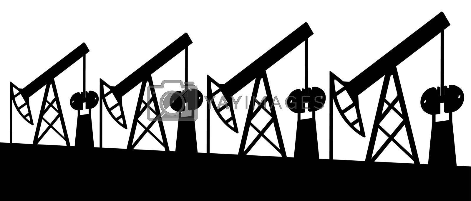 illustration, oil rigs black on white, energy security
