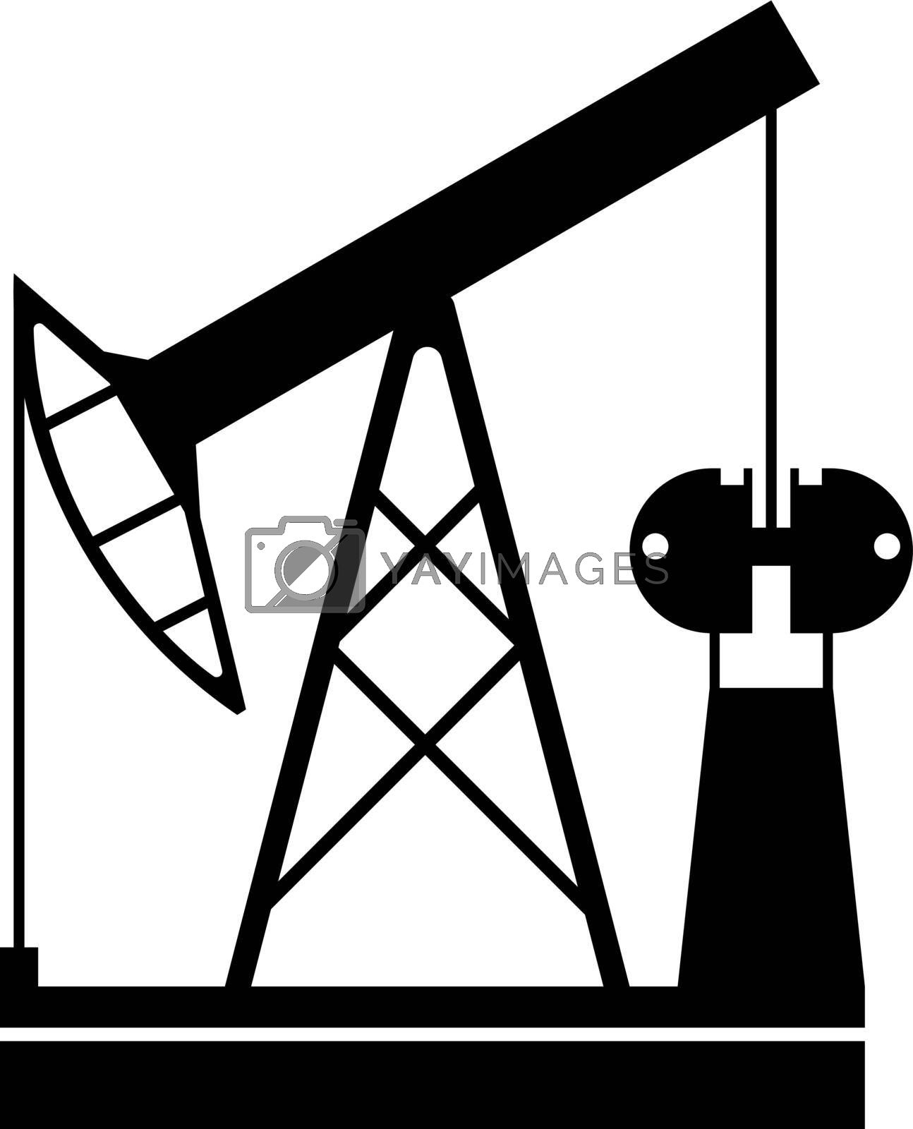black oil rig on a transparent background, energy security. Black pictogram on white background