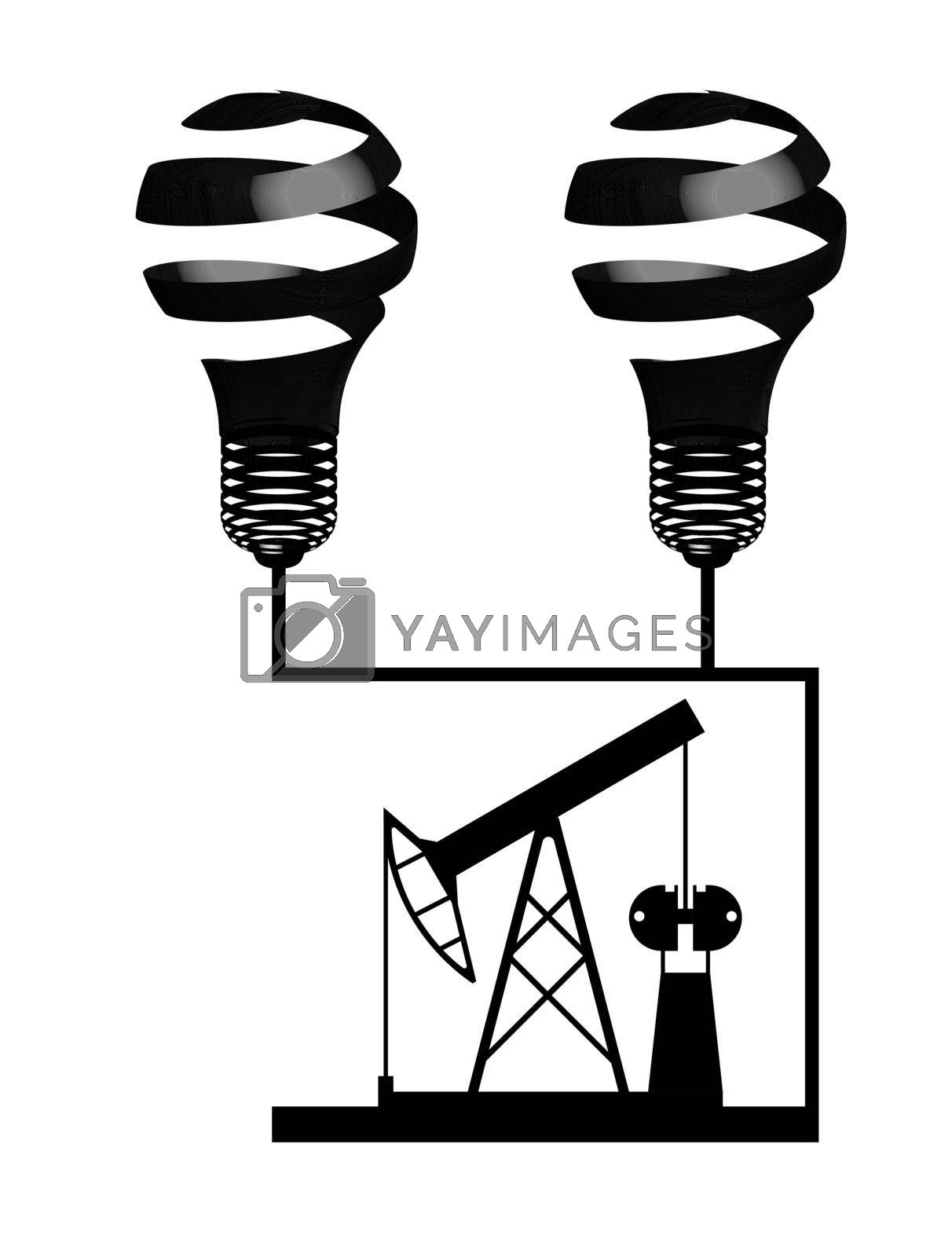 Royalty free image of illustration, oil rig black on a transparent background, energy security, oil production hazard by RNko