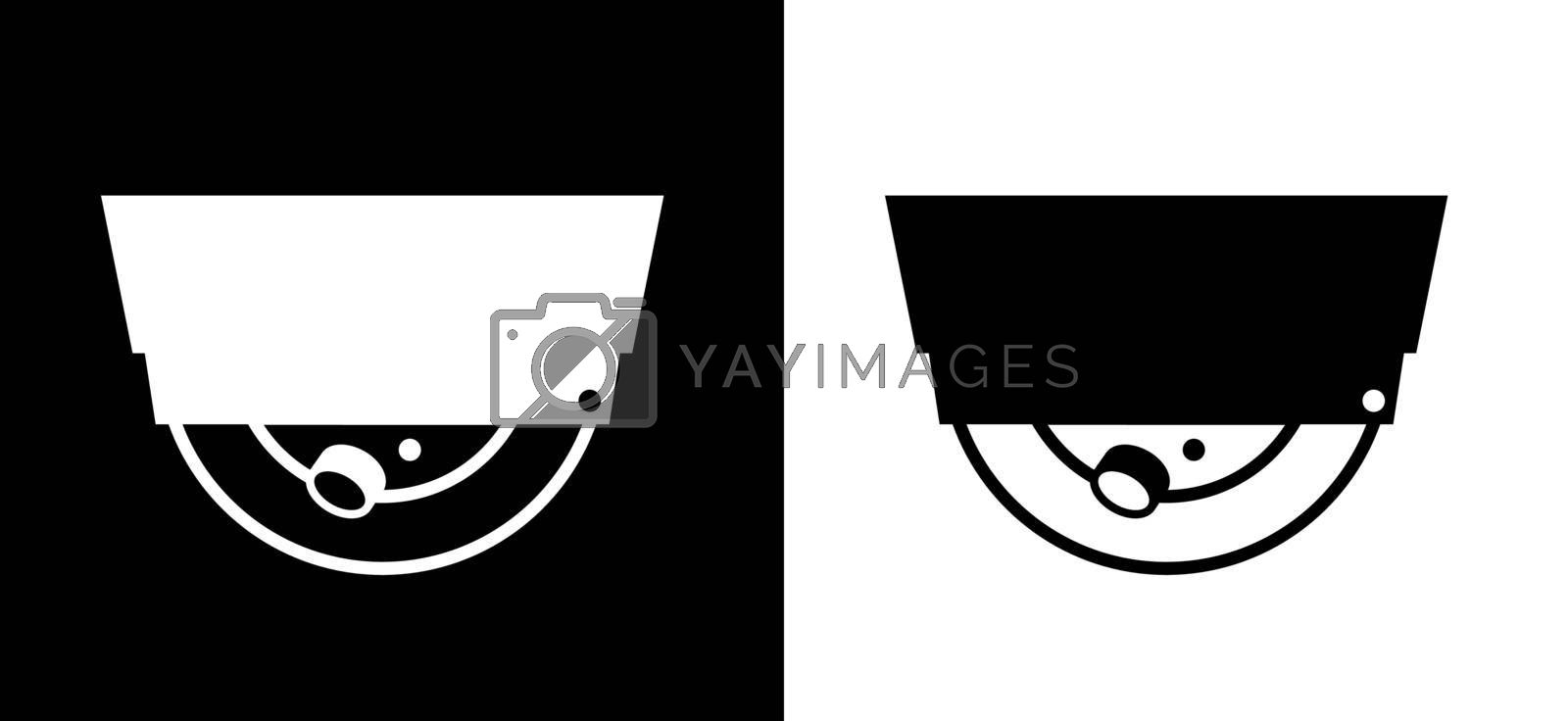 round security camera, icon on a black and white background. Isolated vector