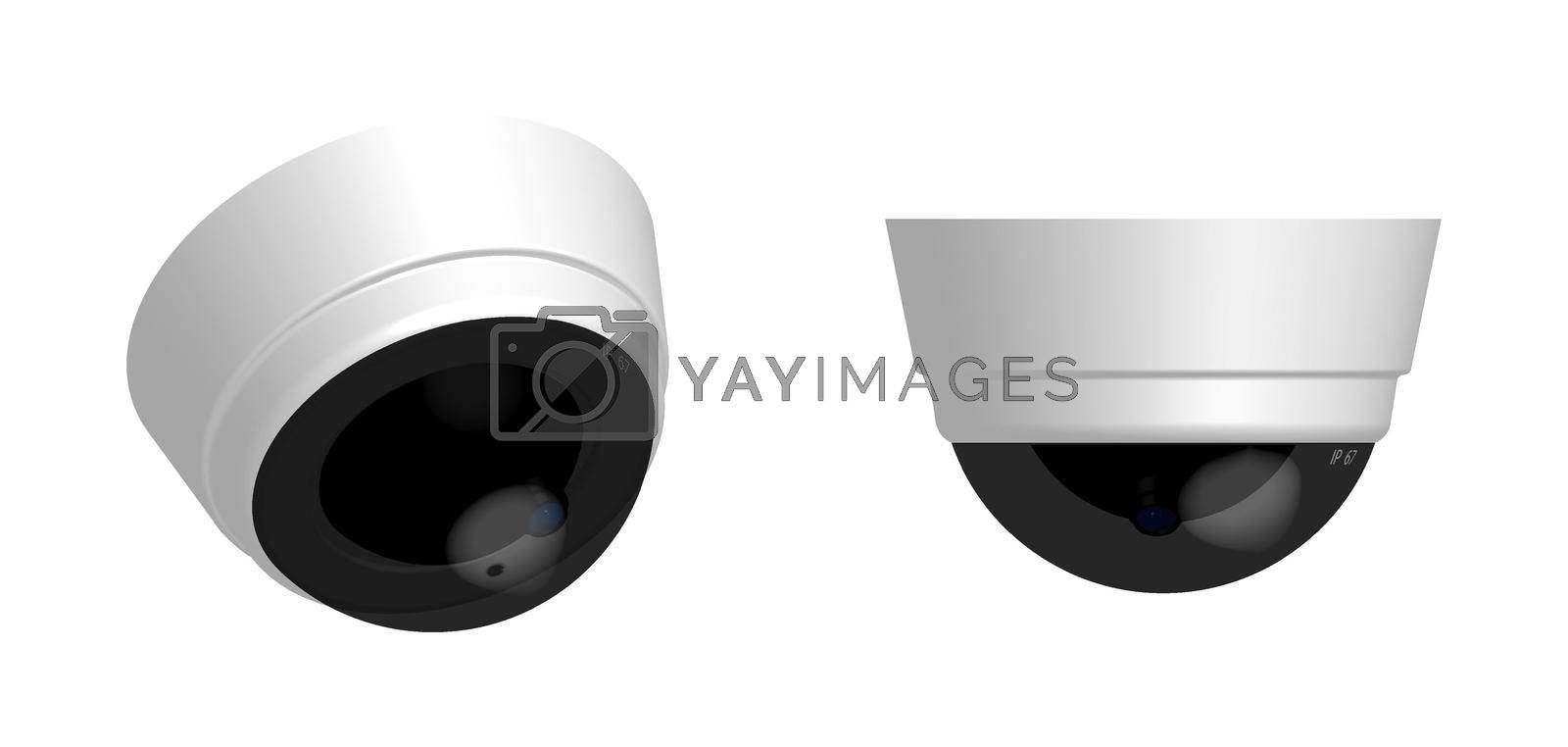 round security camera in realistic 3D design on a white background. Isolated vector