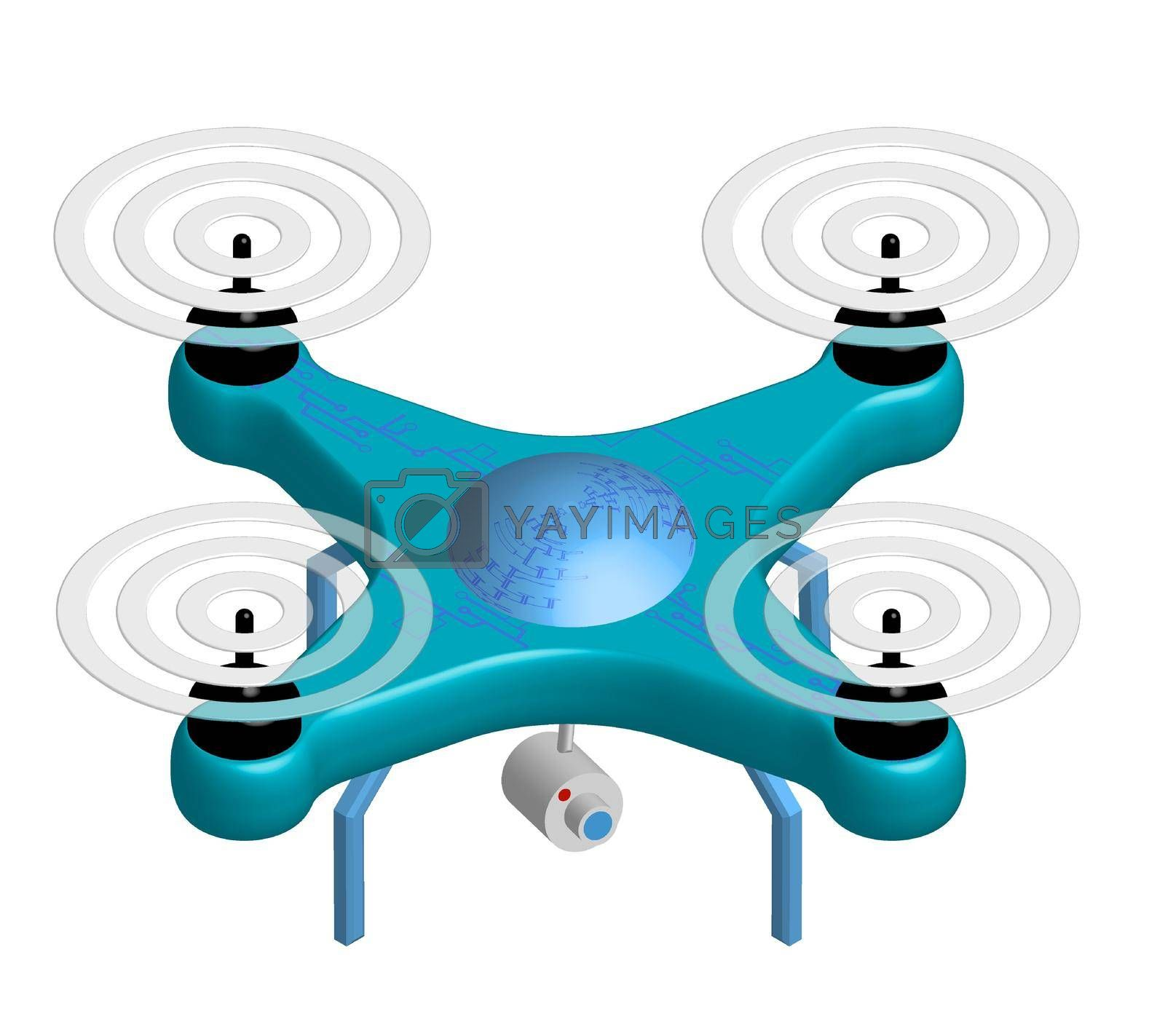 Royalty free image of realistic drone with a video camera, copter on a white background. New ways to track and deliver. Isolated vector by RNko