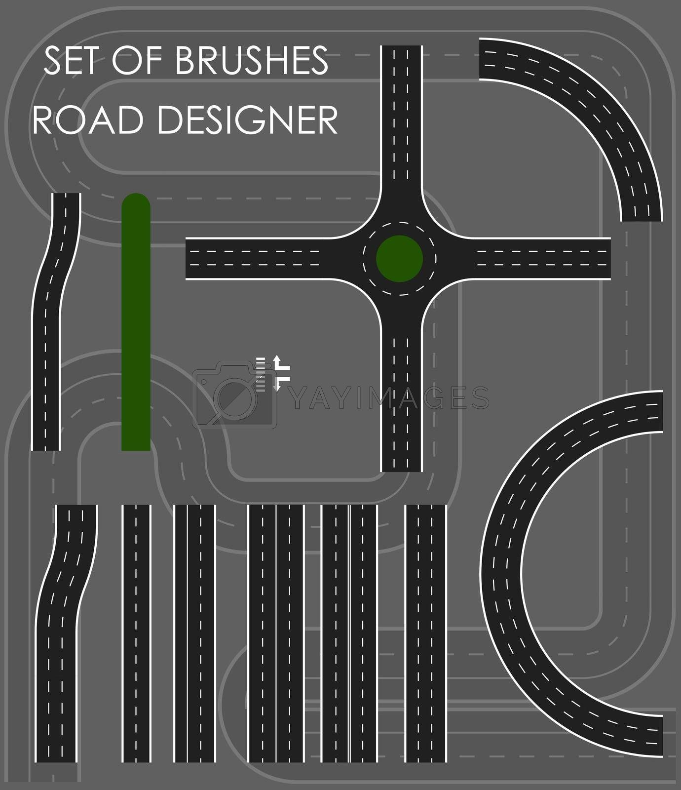 set of brushes. Constructor of road sections with marking lines. Crossroads. Set of elements for designing traffic. Isolated vector