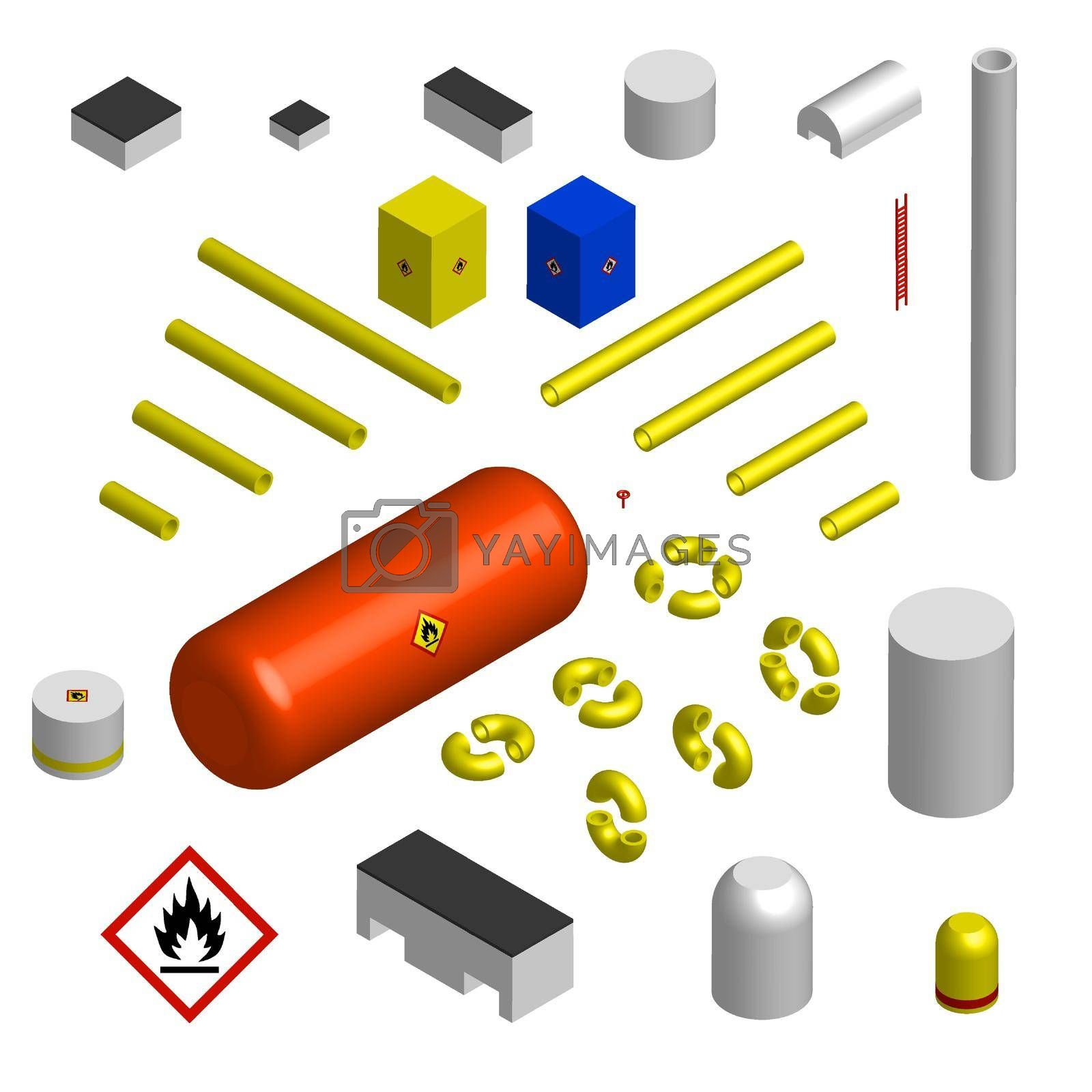 Set of isometric elements for the construction of a gas pipeline and infrastructure. Pipes, hangars, boiler room. Isolated vector on white background
