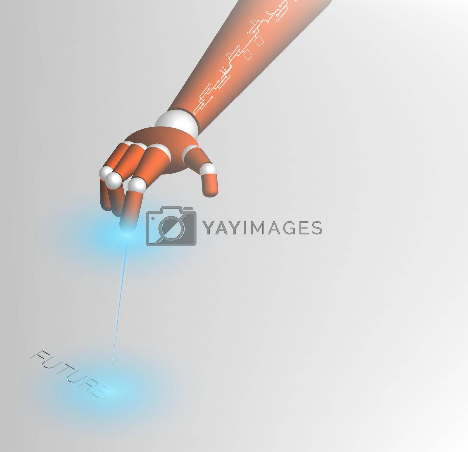 robot arm burns out the word FUTURE with a laser. Template, layout on the topic of new technologies. Vector