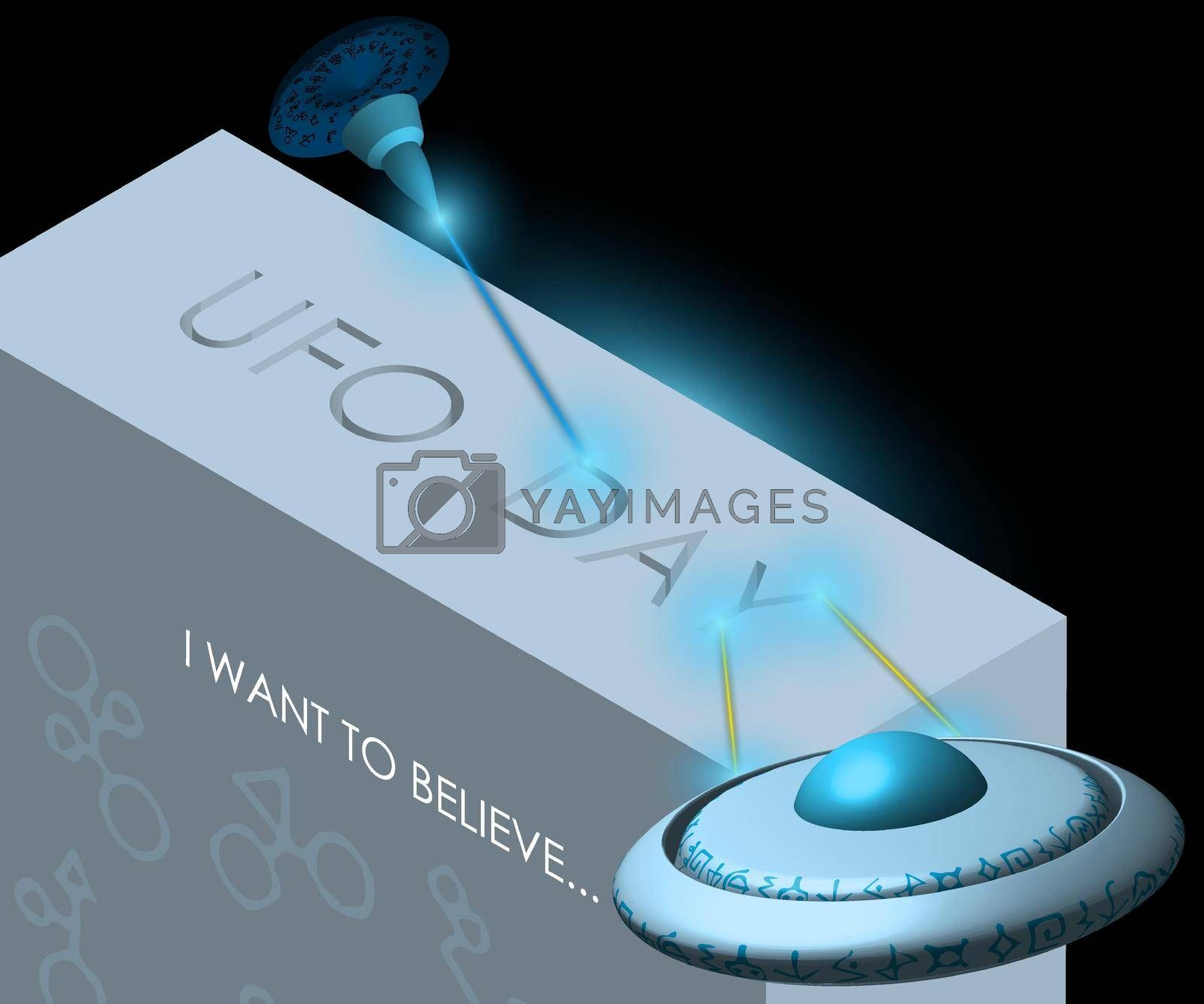 Flying saucers, spaceships burn out with a laser the inscription UFO Day. Illustration, isolated vector