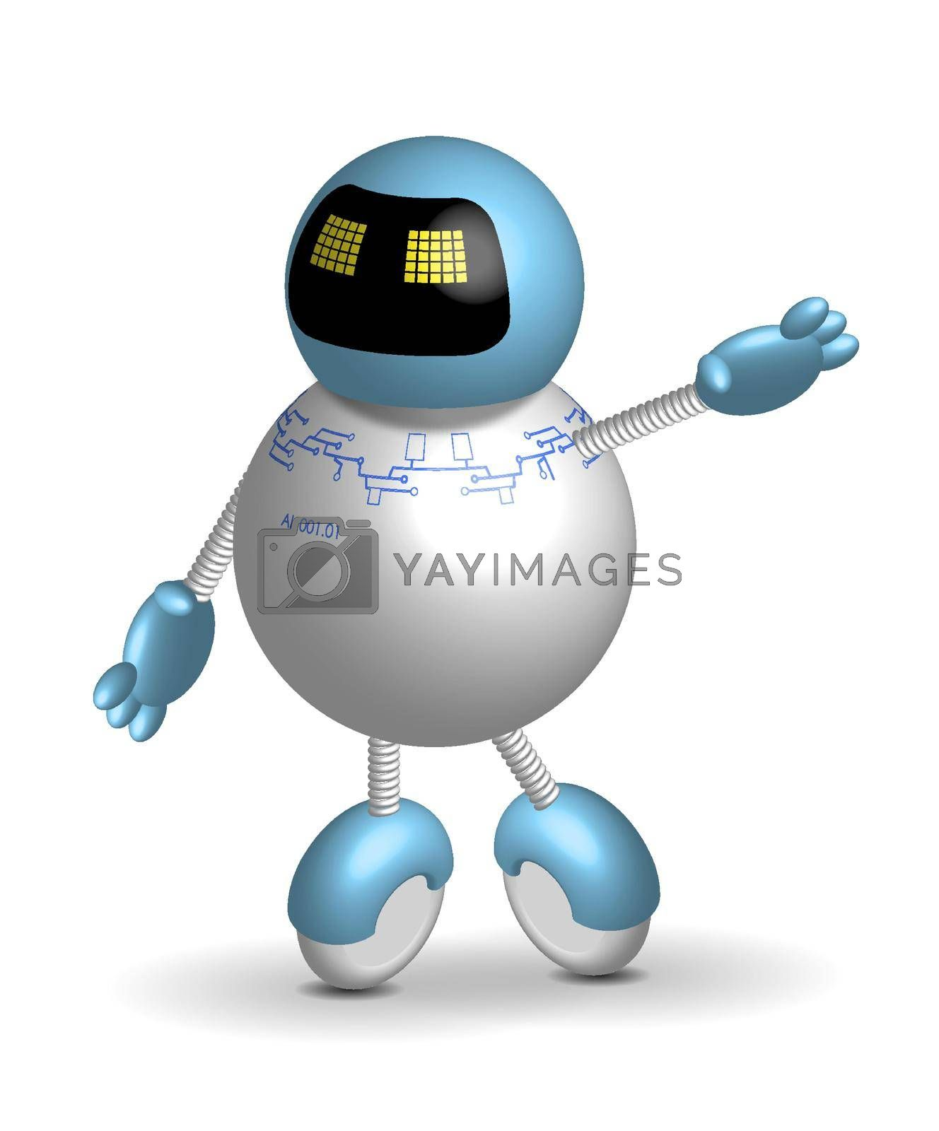round robot guide, a smart assistant on wheels. Technologies of the future. Isolated vector on white background