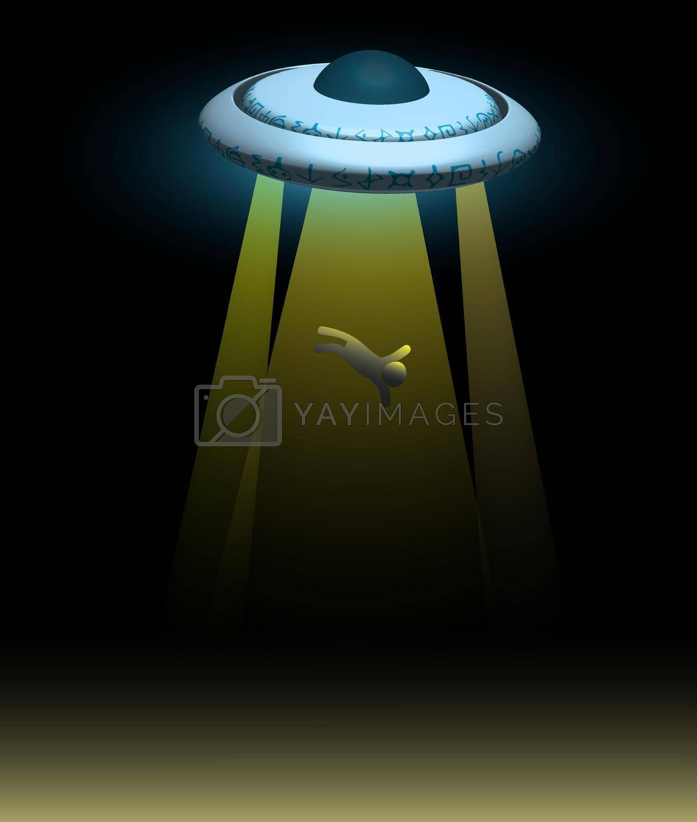 alien spaceship. A flying saucer abducts a person at night. Illustration, vector