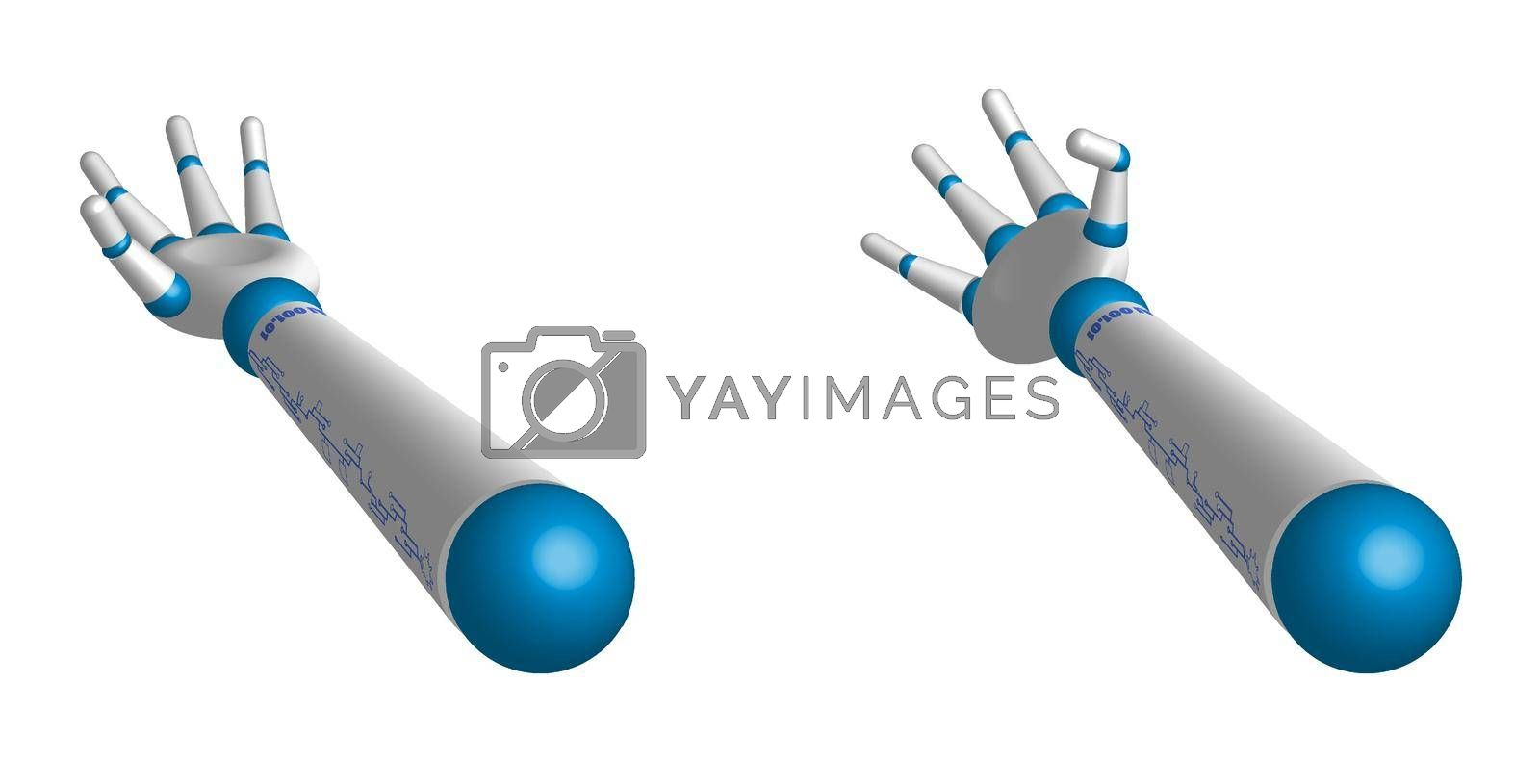 robot hands, gestures to pick up, ask, give. Training artificial intelligence. Hi-tech. Realistic isolated vector on white background