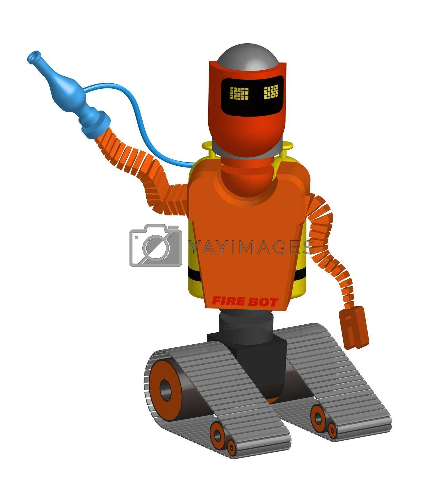 caterpillar robot to extinguish a fire. Doing hazardous work with special equipment. Isolated vector on white background