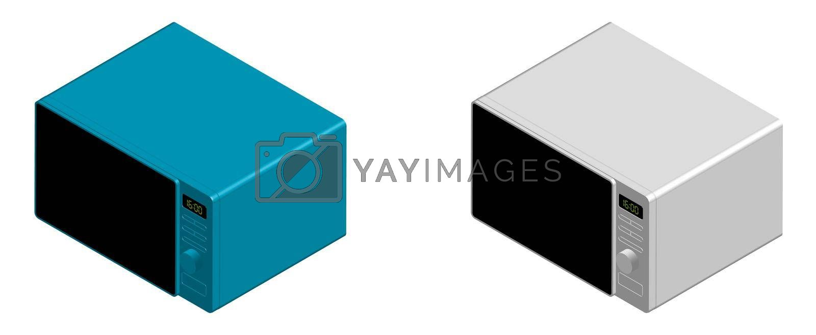 Royalty free image of white and blue microwave in isometric view. Isolated vector on white background by RNko