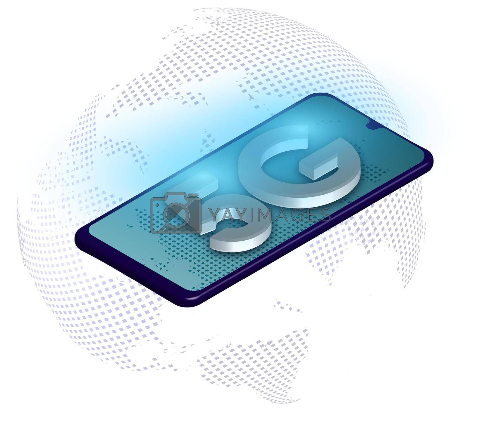 Royalty free image of 5G sign on the background of the globe and a smartphone in digital style. The new standard for internet connectivity. High speed network global network on blue background by RNko