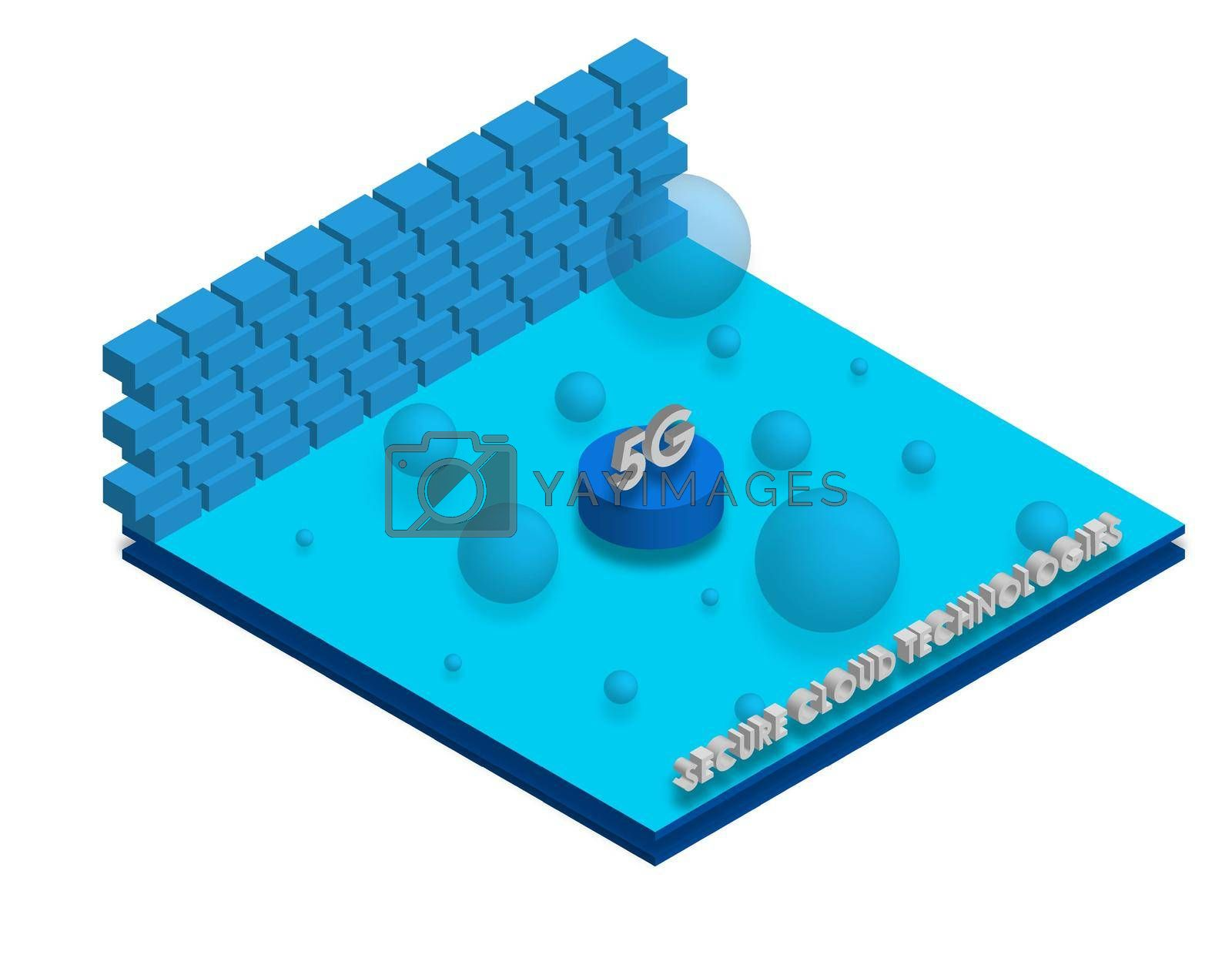 5G isometry. Advantages of new technologies, secure cloud technology. Strong network signal. Vector on a white background by RNko
