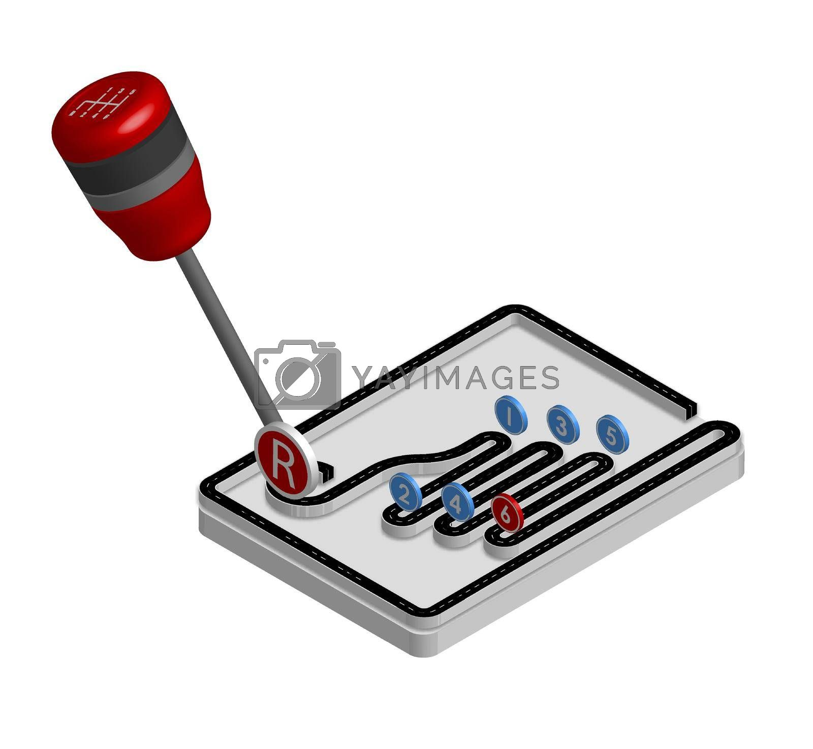 car gearbox stylized for the road with signs in isometric. Neat driving. Compliance with traffic regulations. Isolated vector on white background