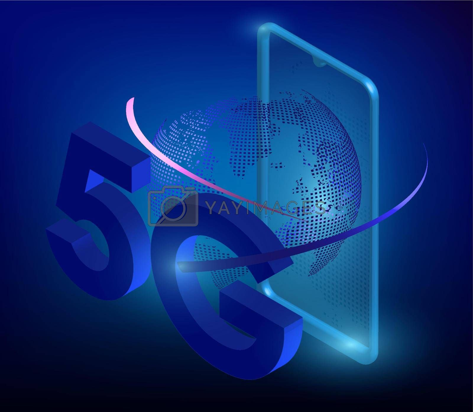 5G sign on the background of the smartphone in digital style. The new standard for internet connectivity. High speed network global network on blue background