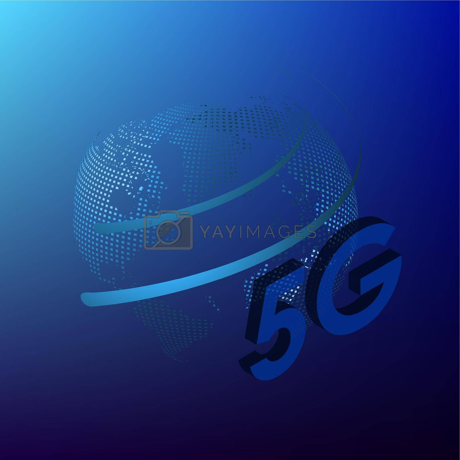 Royalty free image of 5G sign on a background of the globe in digital style. The new standard for internet connectivity. High speed network global network on blue background by RNko