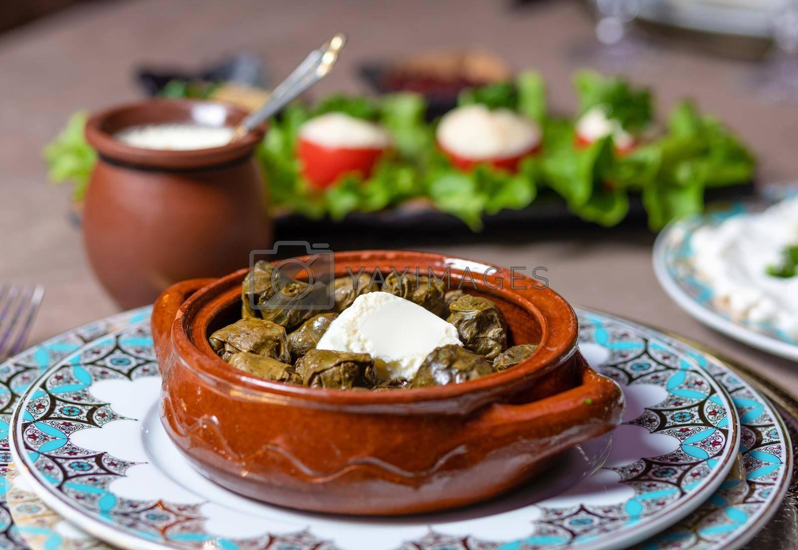 Dolma meal, Azerbaijani meal close up