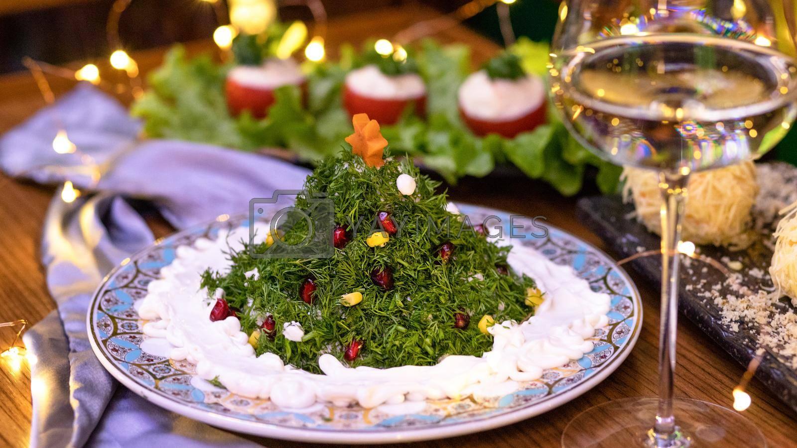 Salad like a new year tree close up