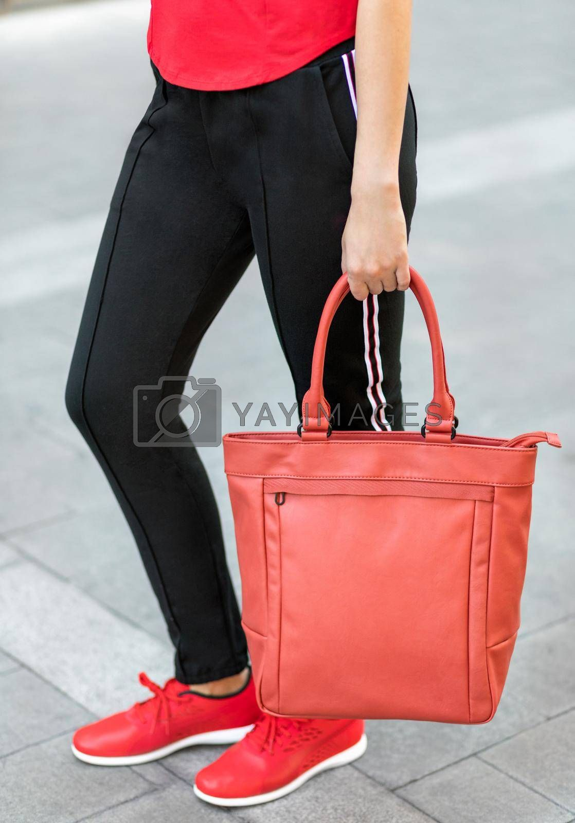 Red female woman tote bag close up