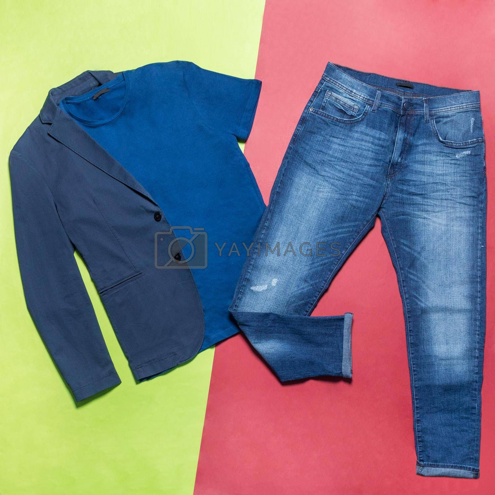 Man jacket t-shirt jeans pants top view