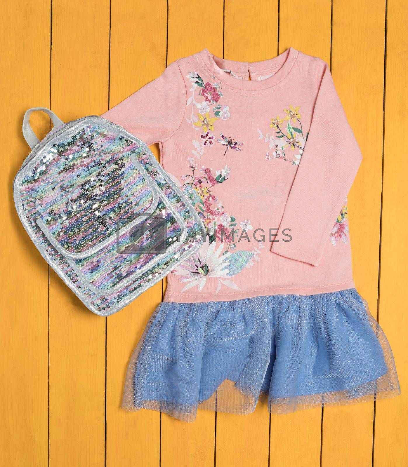 Pink girl dress with a shiny backpack top view