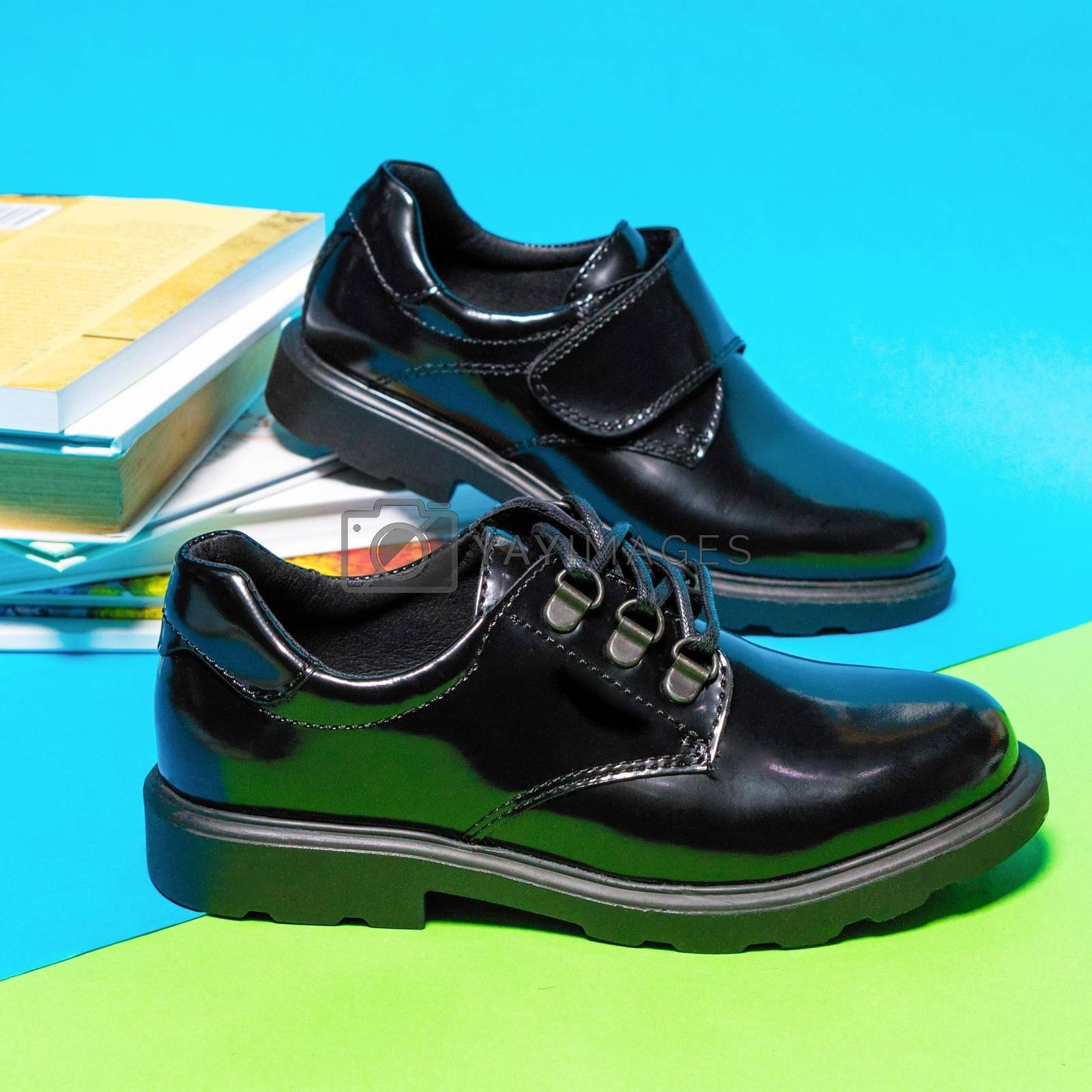 Black shiny boy male shoes isolated