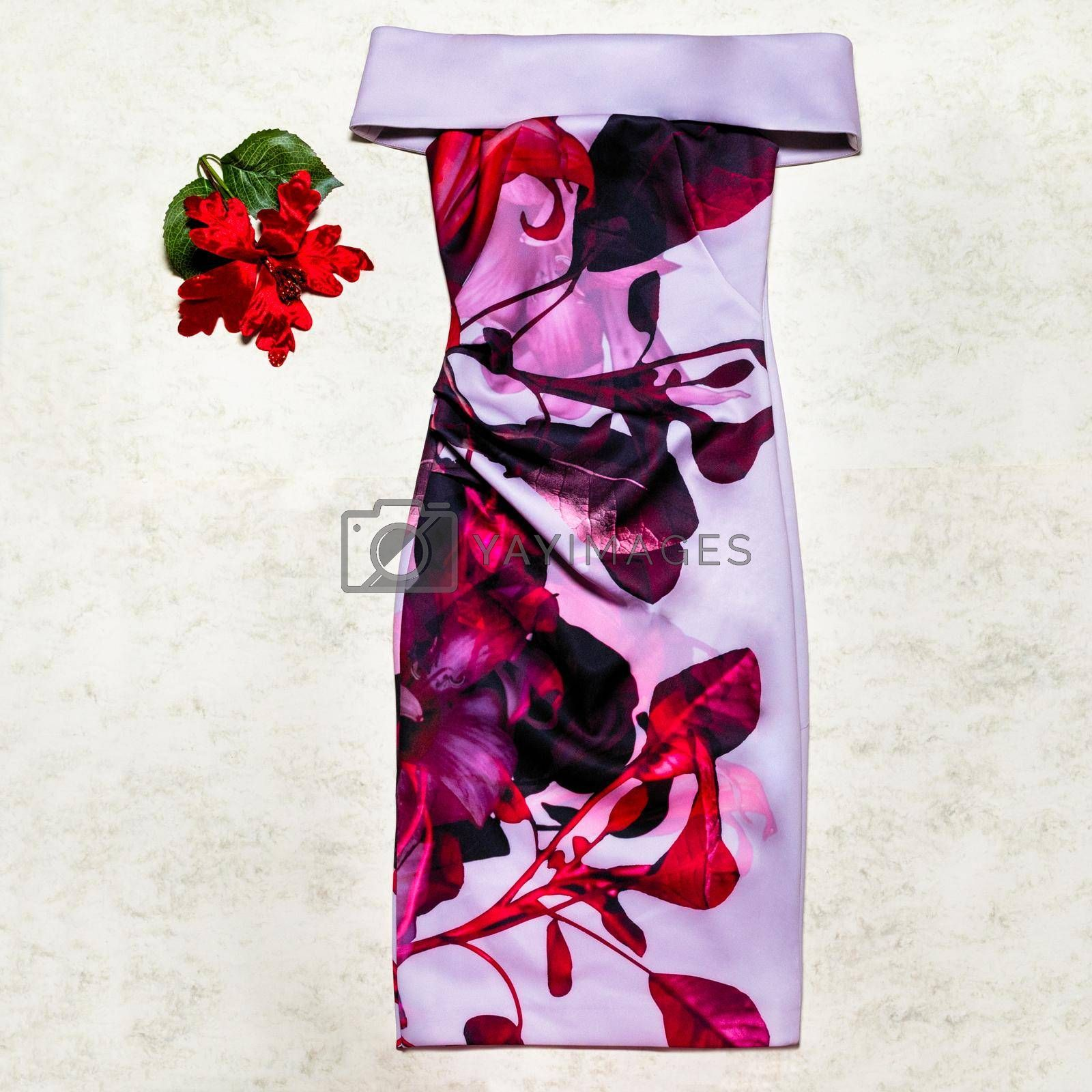 Flower style colorful woman dress top view