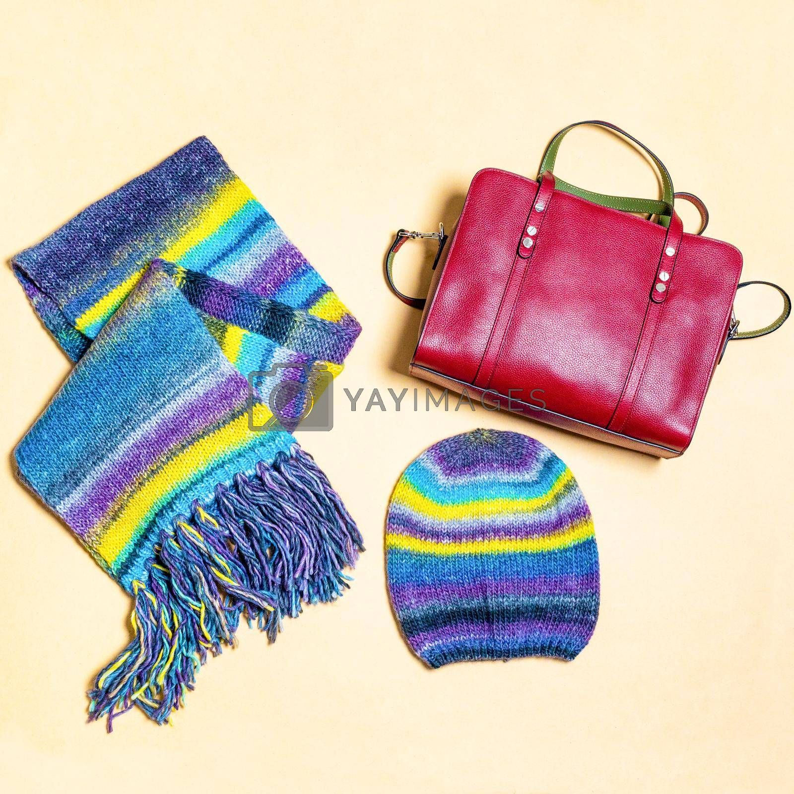 Colorful woman scarf hat and red handbag isolated