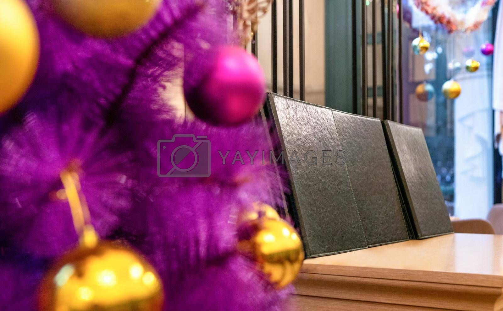 Purple Christmas tree in the restaurant close up