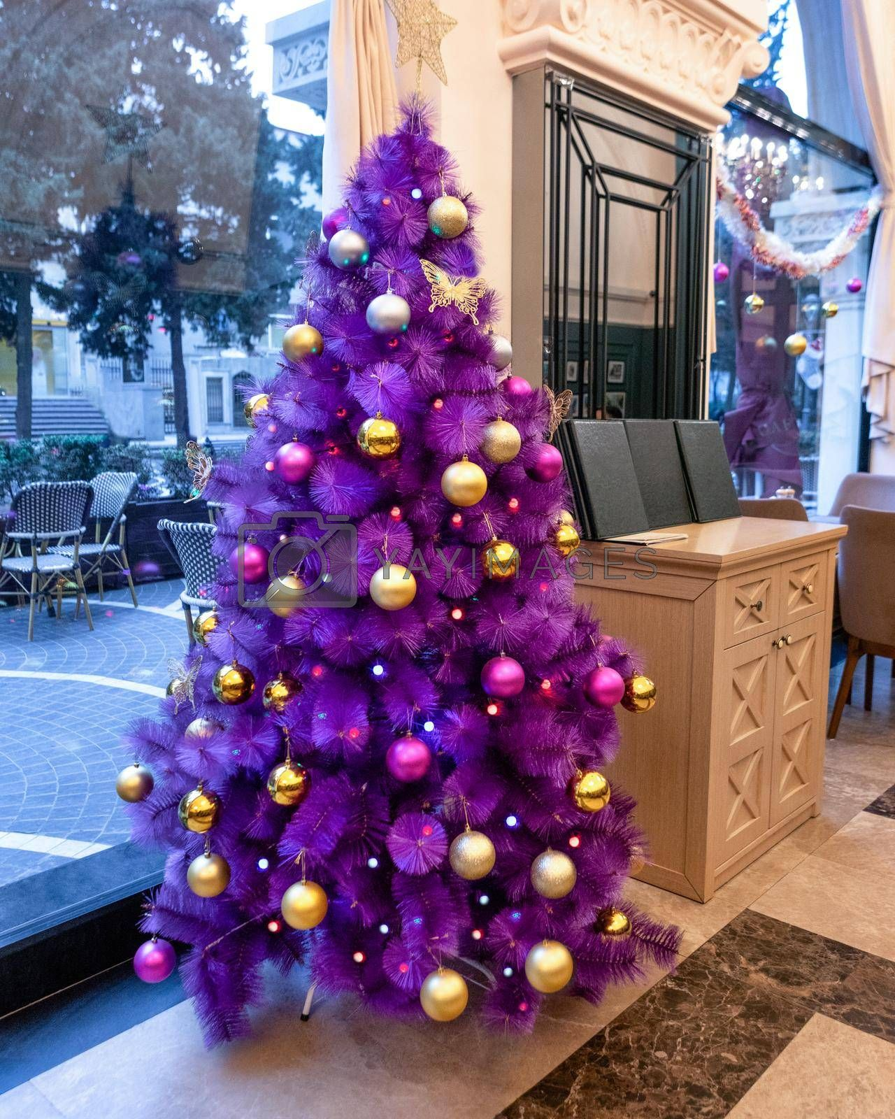 Purple Christmas tree in the restaurant
