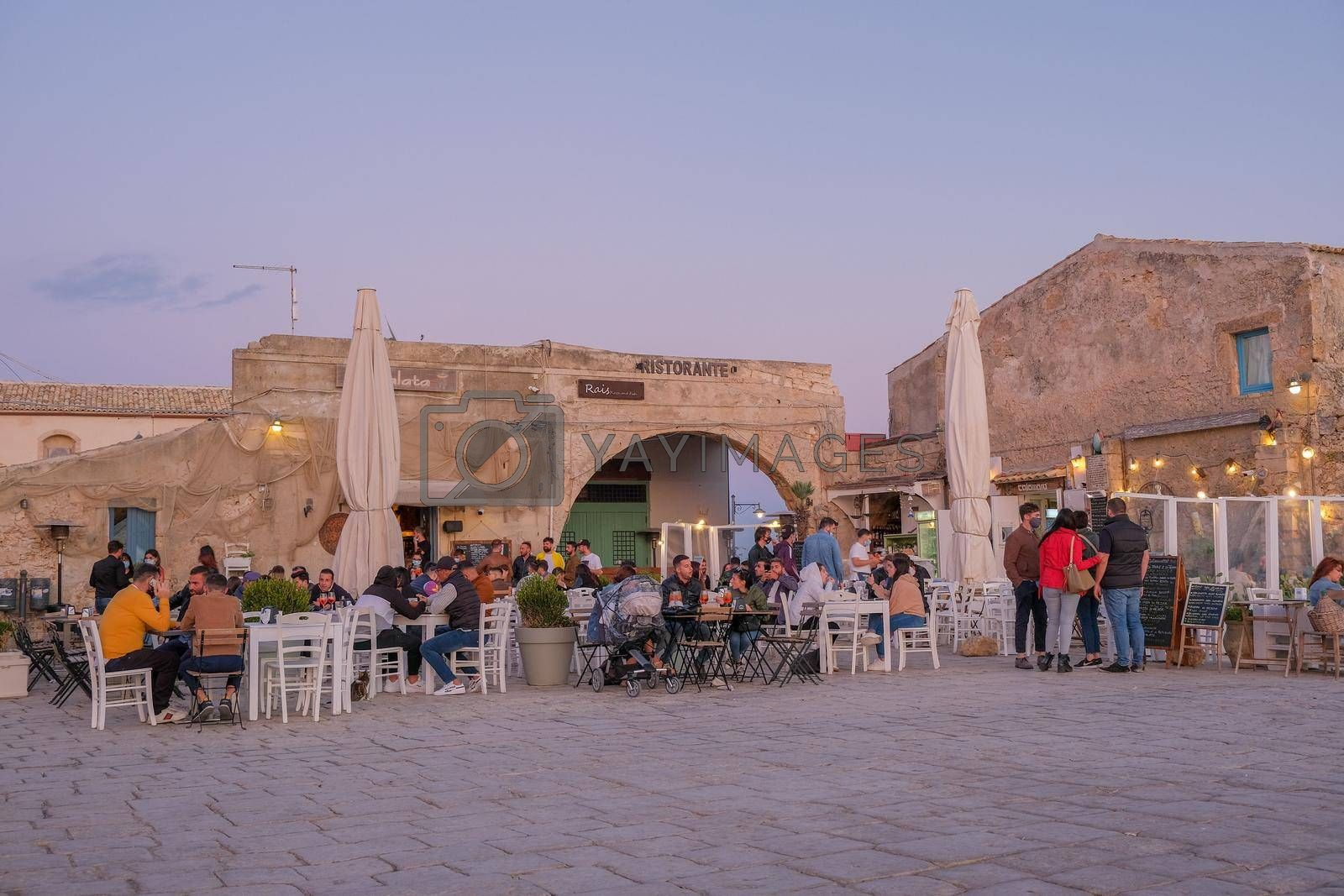 Syracuse Sicily October 2020, The picturesque village of Marzamemi, in the province of Syracuse, Sicily Italy